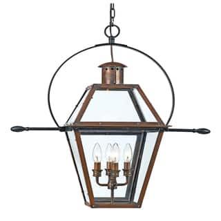 Outdoor lighting for less overstock quoizel rue de royal 4 light aged copper outdoor hanging lantern aloadofball Images