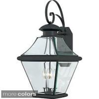 shop quoizel newbury 3 light mystic black glass shade outdoor wall