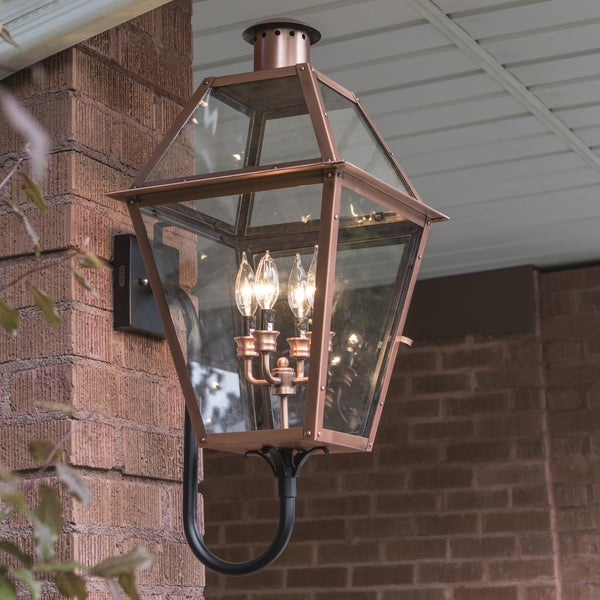 Shop Copper Grove Kran 4-light Outdoor Aged Copper Wall
