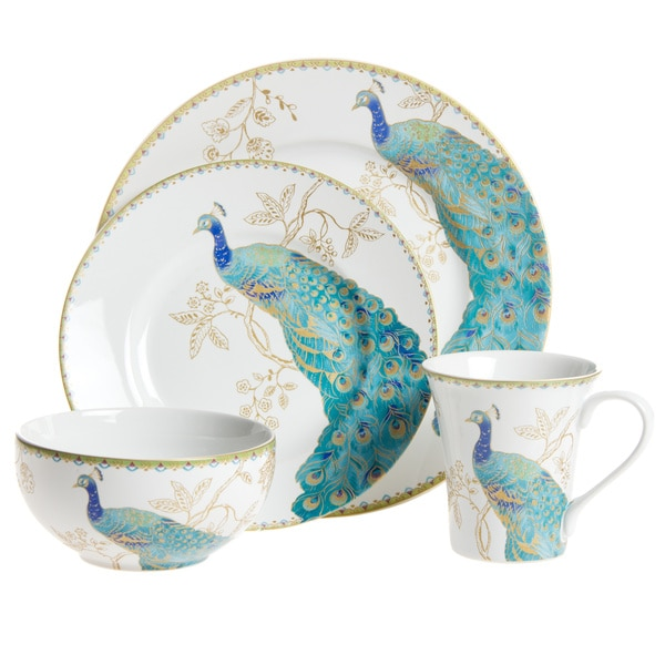 222 Fifth Peacock Garden 16 Piece Dinnerware Set Free