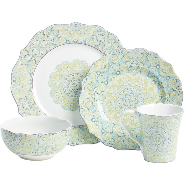 222 fifth lyria teal dinnerware set 16 pieces free for 222 fifth dinnerware