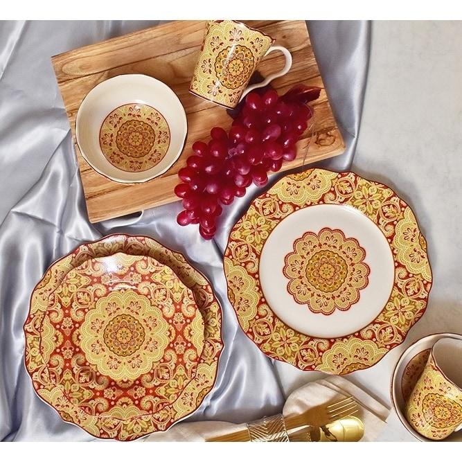 222 Fifth Lyria Saffron 16-piece Dinnerware Set (Lyria Sa...