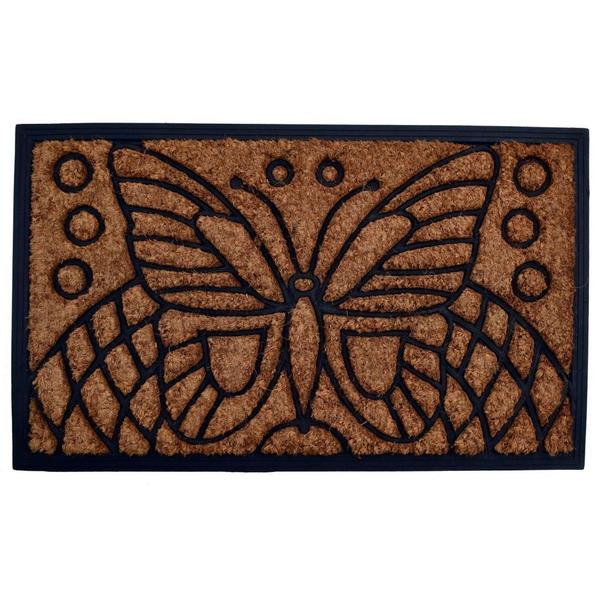 Outdoor Coconut Fiber Butterfly Door Mat (2'6 x 1'6)
