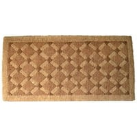 Handmade Outdoor Coconut Fiber Cross Board Door Mat (3'11 x 1'6)