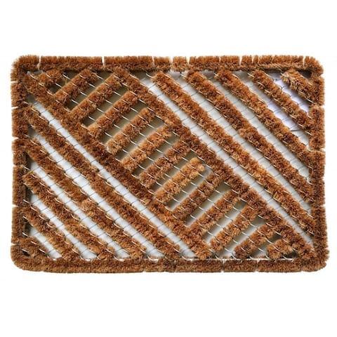 Outdoor Coconut Fiber Diagonal Door Mat (2' x 1'4) - 2' x 1'4