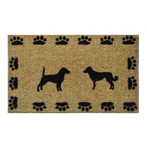 Outdoor Coconut Fiber Dog with Paws Door Mat (2'6 x 1'6) - 2'6 x 1'6