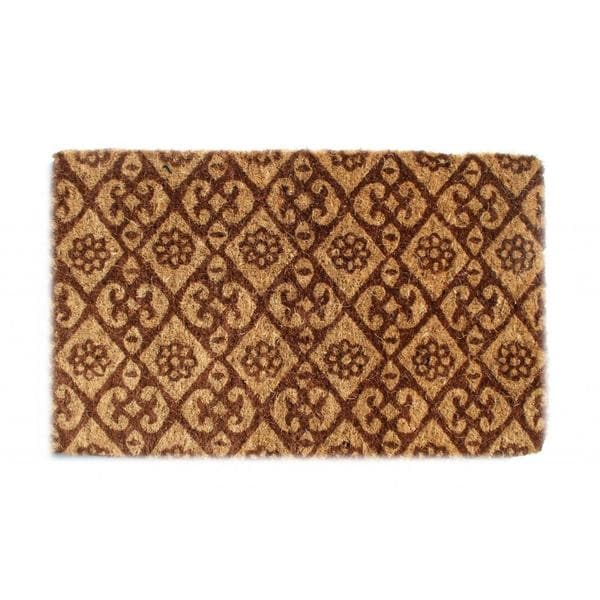 Outdoor Coconut Fiber Floral Door Mat (2'6 x 1'6)
