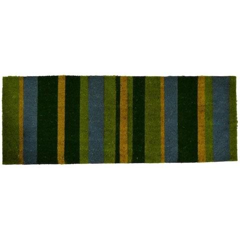 Outdoor Coconut Fiber Green Stripes Door Mat (4' x 1'6) - 4' x 1'6