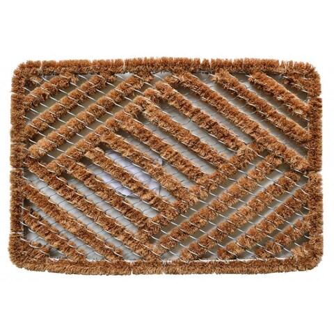 Outdoor Coconut Fiber Overlapping Cross Hatch Door Mat (2' x 1'4)