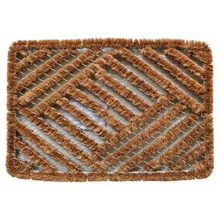 Outdoor Coconut Fiber Overlapping Cross Hatch Door Mat (2' x 1'4)