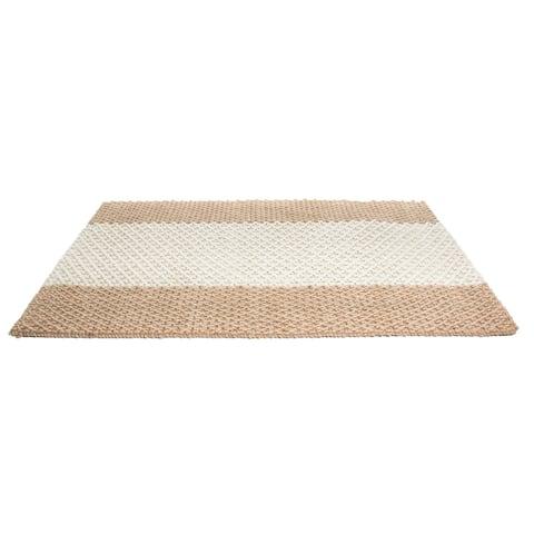 Indoor Jute Natural Stripes Mat (3' x 2') - 3' x 2'