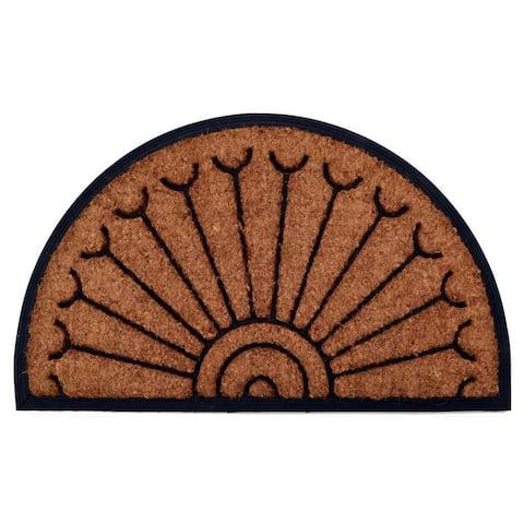Outdoor Coconut Fiber Peacock Door Mat (2'6 x 1'6)