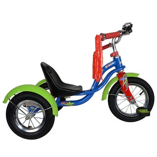 NASCAR Burn'in Kid's Blue/ Red/ Green Rubbber Tricycle with 12-inch Front Wheel, Bell and Tassels