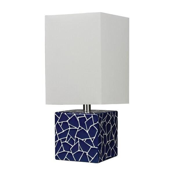 Shop 1-light Ceramic Cube Table Lamp - Overstock - 8465766