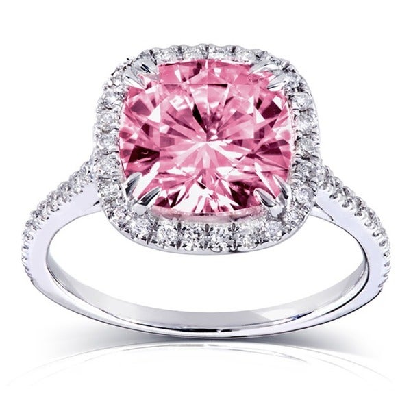 Annello by Kobelli 14k Gold 3ct TGW Pink Cushion-cut Moissanite (HI) and Diamond Halo Engagement Ring