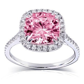 Annello by Kobelli 14k Gold 3ct TGW Pink Cushion-cut Moissanite and Diamond Halo Engagement Ring