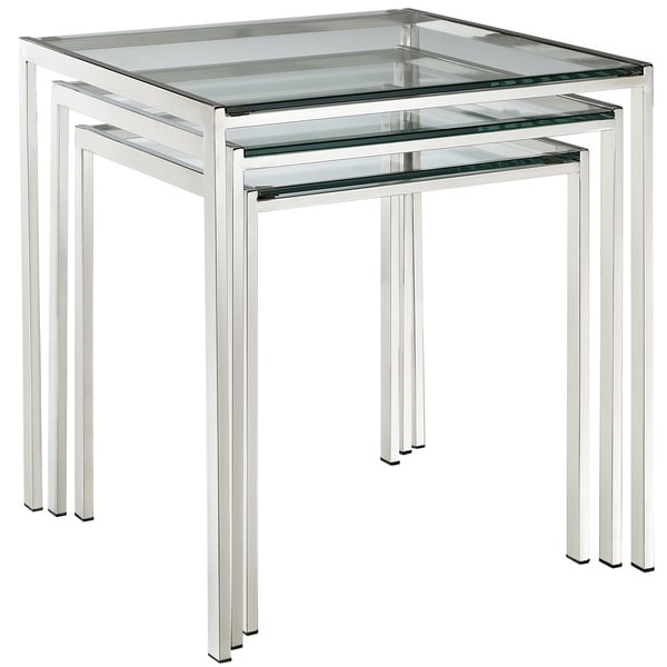 Modway Nimble Stainless Steel Nesting Table Set