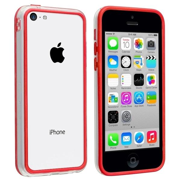 INSTEN Clear/ Red TPU Bumper for Apple iPhone 5C