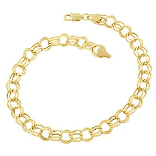 14k Yellow Gold 6.6mm Round Link Charm Bracelet