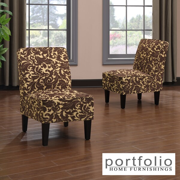 Portfolio Wylie Armless Chairs in a Carmel Brown Velvet (Set of 2)