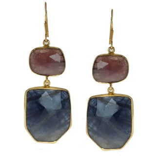 Gold over Silver Red and Blue Sapphire Earrings