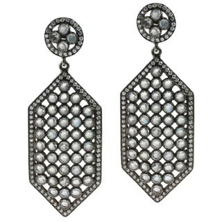 Sterling Silver Moonstone and Cubic Zirconia Dangle Earrings