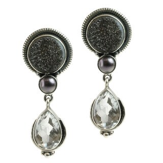 Sterling Silver Druzy, Rock Crystal and Pearl Earrings (4-5 mm)