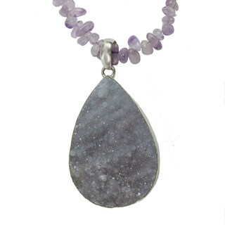 Sterling Silver Druzy and Amethyst Necklace