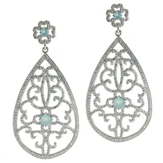 Sterling Silver Blue Quartz and Cubic Zirconia Earrings