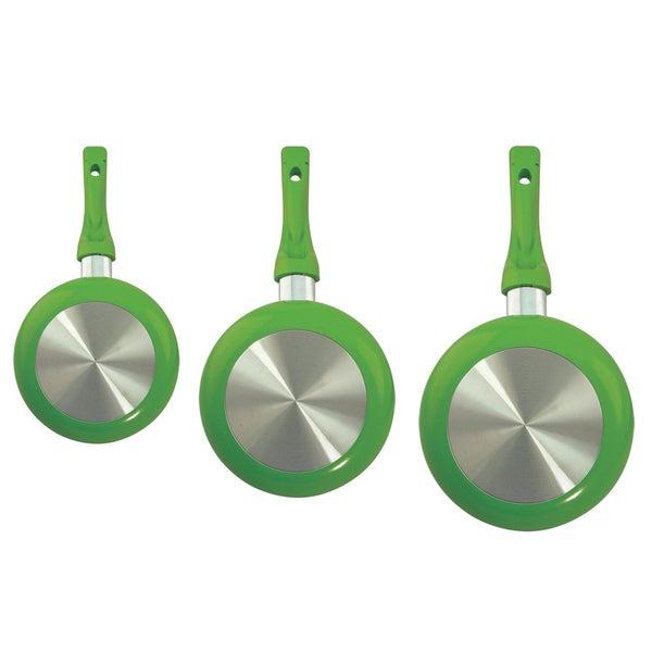 Euro-Ware 3-Piece Green Ceramic Frying Pan Set