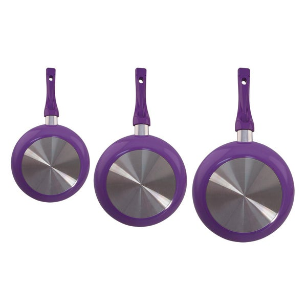 Shop Euro Ware 3 Piece Purple Ceramic Frying Pan Set