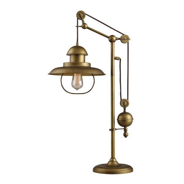Genial Farmhouse 1 Light Antique Brass Table Lamp
