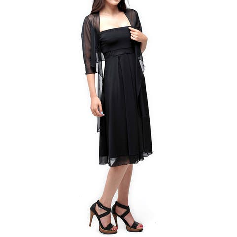 Evanese Women's Two Piece Dress with Inverted Pleats, See Through Empire Waist and 3/4 Sleeves Shrug