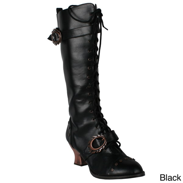 Hades Women's 'Vintage' Leather Lace-up Knee-High Boots