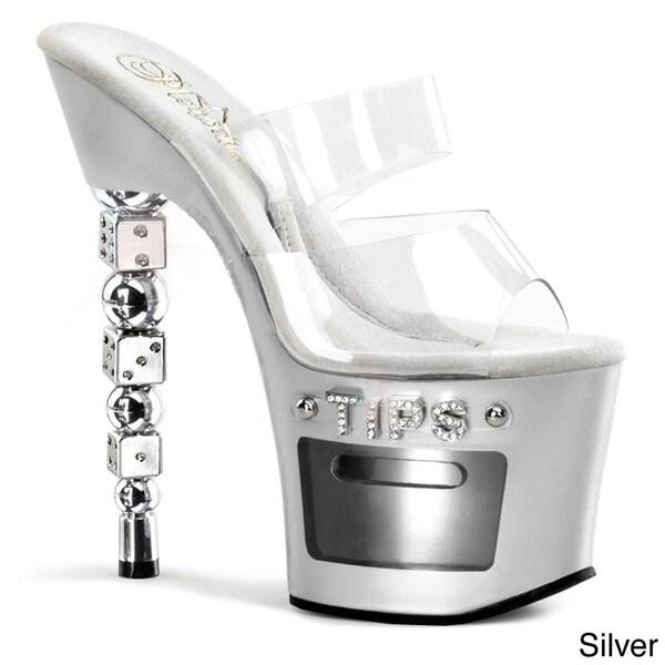 Pleaser 'Dice-702-2' Women's 7-inch Rhinestones Embellished Stacked Dice Heel Sandals