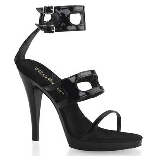 Pleaser Women's 'Flair-458' Black Patent Ankle Cuff Platform Sandals