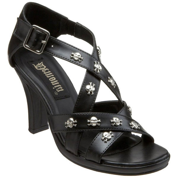 d2c999938 Shop Demonia Women's 'Glam-44' Black Skull-studded Strappy Sandals ...