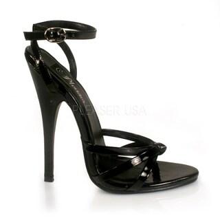 Pleaser Women's 'Domina-108' Black Patent Ankle Wrap Stiletto Sandals