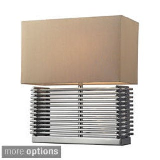 Andros 2-light Slatted Chrome Table Lamp