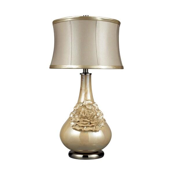 Eleanor 1-light Pearlescent Cream Table Lamp