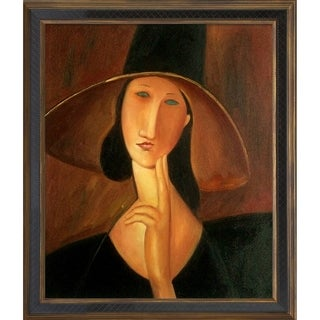 Amedeo Modigliani 'Jeanne Hebuterne in Large Hat' Hand Painted Framed Canvas Art