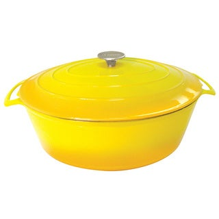 Le Cuistot Vieille France Enameled Two-tone Yellow Cast-iron Oval Dutch Oven