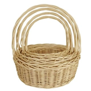Wald Imports Set of 4 Natural Willow Baskets