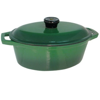 Le Cuistot Vieille France Enameled Cast-iron Two-tone Green Oval Dutch Oven