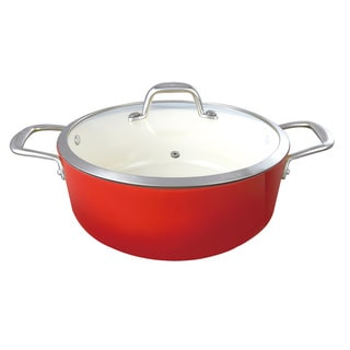 Le Cuistot Enameled 2 Tone Red Cast-Iron 5 Quart Dutch Oven With Glass Lid