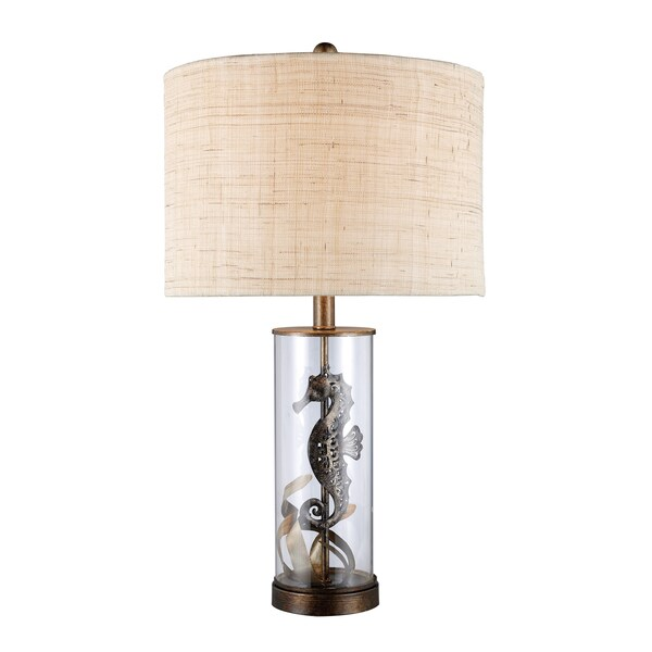 Largo 1-Light Bronze Sea Horse and Glass Table Lamp