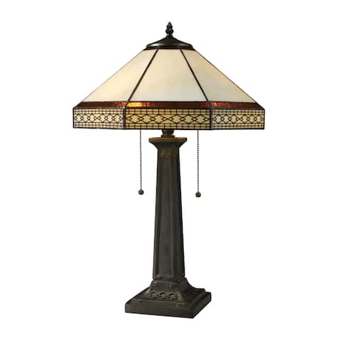 Stone Filigree 2-light Tiffany Style Bronze Table Lamp