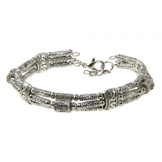 Handmade Tibetan Silver Engraved Beaded Bangle (China)