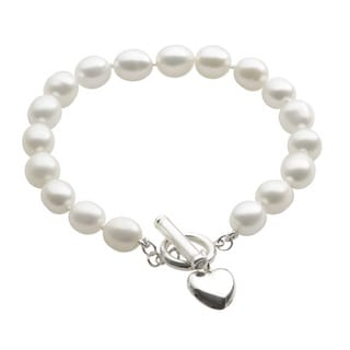 Pearls For You Silver FW Pearl and Heart Charm Toggle Bracelet (7-7.5 mm)