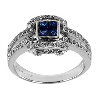 Contessa 14k White Gold Blue Sapphire and 3/8ct TDW Diamond Ring (H-I, I1-I2)